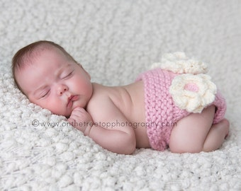 Diaper Cover, Bloomer, Newborn and Baby Pink Diaper Cover with Handmade Crocheted Ivory  Flowers, Photography Prop