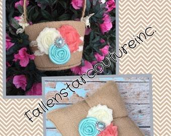 Burlap flower girl basket / ring bearer pillow - burlap pillow , burlap basket