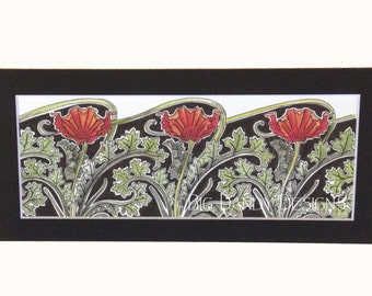 Art and Crafts Poppies Print, Unframed with Choice of Mat