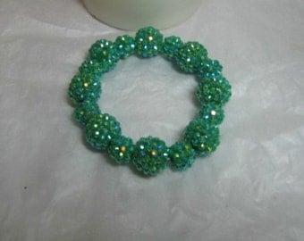 Basketball Wives Inspired Kelly Green Sparkle/Bling  Strech Bracelet