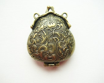 antique brass metal purse hand bag frame clutch clasp charm pendant locket with magnet loop hole emboss for diy craft creative jewellery
