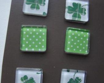Set of 6 glass tile magnets