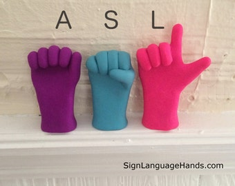 Any 3 Letter word in ASL - Sign Language Sculptures - Initial Art - Name Decor - Personalized Art - Unique Gift - Your Choice of Colors