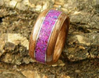 Bentwood Ring Walnut with Purple Turquoise Inlay and Sterling Silver Accents