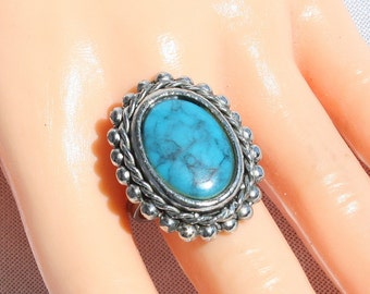 Vintage 1970s Faux Turquoise Ring Vintage Chunky Blue Oval Adjustable 1970s Southwestern