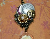 Romance under the Moon Assemblage Charm Necklace Rose Pearls Vintage Swarovski Rhinestones