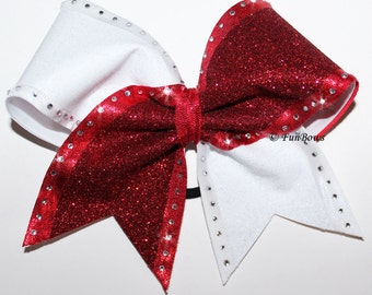 RHINESTONES ! and Glitter two tone Cheer bow by Funbows