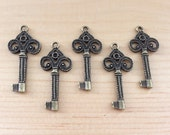 25pc Vintage Style Antique Brass Key Charms...33x15mm