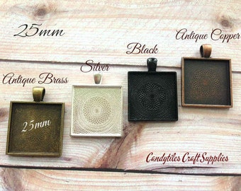 20 Square Pendant Trays ....MIX and MATCH. Trays are 1 inch...SPT