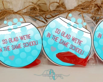Back to School 'So glad we're in the same school' - Fish Bowl Favor Bag Inserts - Class Favor Bags - DIY Printable File INSTANT DOWNLOAD