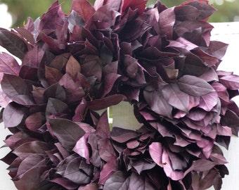 Preserved Purple Salal Wreath, purple wreath, simple purple wreath, wreath base