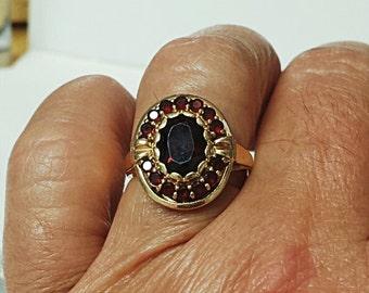Vintage Garnet Cluster Ring