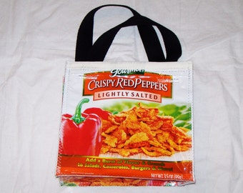 Fun Eco Friendly Purse or Lunch bag made with Salad Toppings bags YUM upcycled repurposed