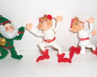 Vintage Flocked Elf Ornaments - Christmas Elves - 3 Flocked Elves - Elf Ornaments - Vintage Elf - Christmas Ornament - Christmas Elves