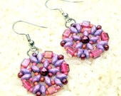Pink and purple bead woven earrings, handmade, super duo and seed beads, dangle earrings