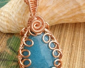 Aqua blue jade stone wire wrapped copper pendant large bail handmade