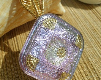 Purple diamond shape Czech glass button, large bailed handmade wire wrapped pendant