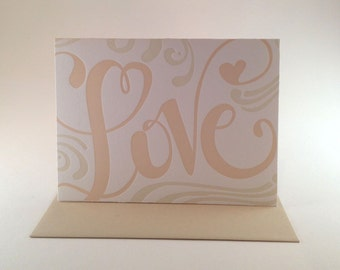 Love Hand Lettered Letterpress Valentine
