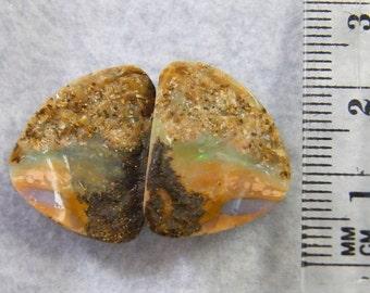 Opal, Australian Opal, Split and Semi Polished Pair of Boulder Opal - Item 159143 - SALE 15% OFF use code SALE15