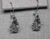 Sterling silver small oak and acorn earrings