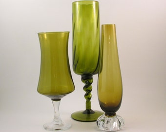 Vintage Green Glass Vase Set of Three Shades of Green Long Stem Pedestal Base Vase