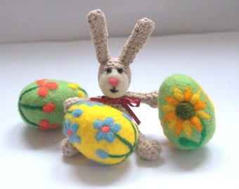 Easter Felted wool eggs and crochet bunny yellow green egg with flowers handmade Birthday gift for her spring decoration ornament