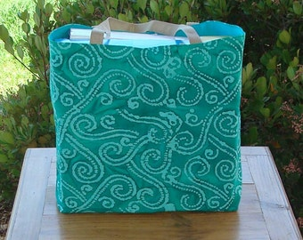 Ocean Swirl on a Deep Sea Green Batik Print Reusable Shopping Tote Bag