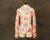 CLEARANCE vintage 70s Blouse - 1970s Pink and White Floral Huge Collar Blouse Sz M