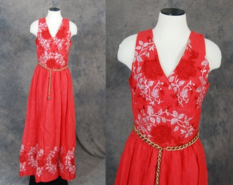 Clearance Sale vintage 60s Maxi Dress -  Red Floral Embroidered Formal Dress - 1960s Bombshell Evening Gown Sz M