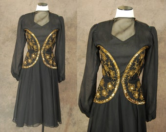 vintage 40s Cocktail Dress - 1940s Sheer Mesh Beaded Dress - Gold Bullion Embroidered Dress Sz XS