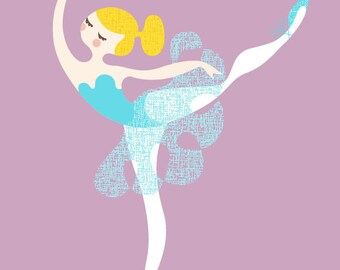 "5X7"" ballerina arabesque giclée print. lilac purple, teal blue, blonde."