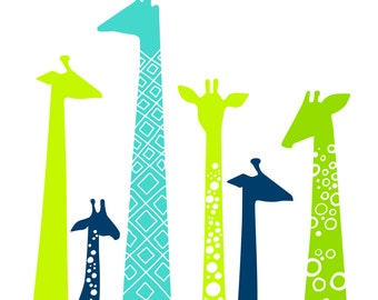 "8X10"" modern giraffe silhouettes giclee print on fine art paper. lime, teal blue, navy, green."
