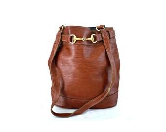 SABATIER French Vintage Brown Leather Draw String Shoulder Bag