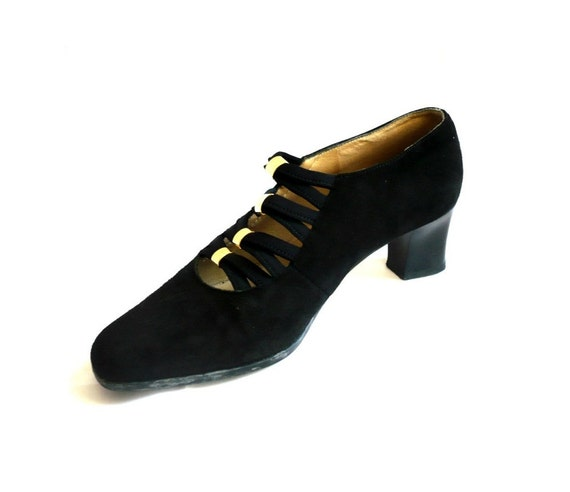 CHUPIN French Vintage Black Suede Shoes