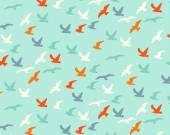 Nautical Seagulls by Makower, Nautical Fabric, Green Seagulls Fabric, Seaside Cotton Fabric for patchwork and crafts
