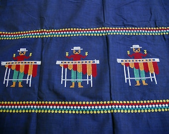 Vintage Mexican handwoven tapestry or tablecloth