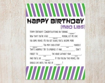 It's just a photo of Ambitious Happy Birthday Mad Libs Printable