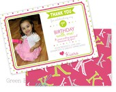 ABC ALPHABET Kids Birthday Party Printable Thank You Card - Pink and Green