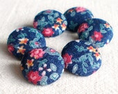Fabric Buttons - Flowers of Night - 6 Small Blue and Pink Floral Fabric Covered Buttons, Handmade Buttons Roses, Clothing, Knitting, Sewing