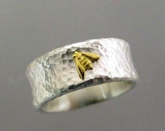 Wide Silver Bee Ring, Hammered Silver Band, Honeybee Ring, 18k Gold Bee, Two Tone Ring, Tiny Gold Bee, Made To Order