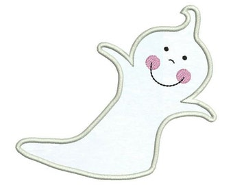 Applique Cute Happy Ghost Halloween Embroidery Designs 4X4 and 5X7 Included - Instant Download Sale