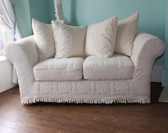 Loveseat Slipcovered Shabby Chic Chenille Bedspread