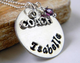 Personalized Coach Necklace, Handstamped Coach Necklace, Personalized Gifts, By RosesDesigns