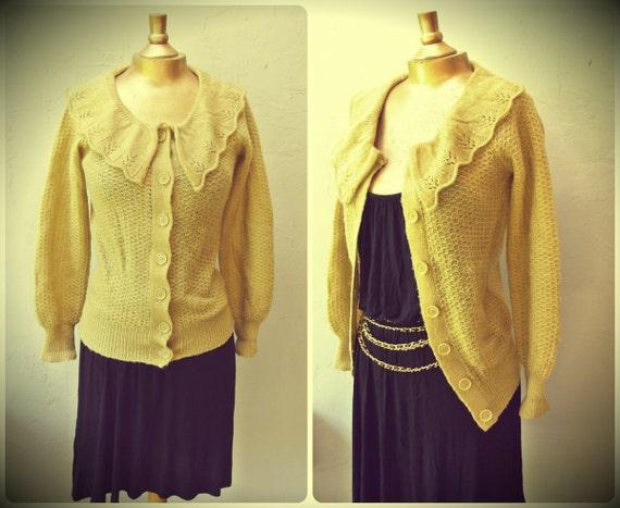 knit cardigan / peter pan collar camel tan crochet eyelet knit sweater