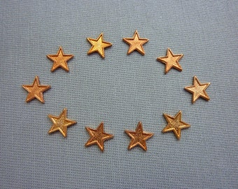 Vintage Stamping Small Copper Stars (10)
