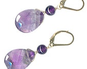lever back earrings large amethyst briolette sterling silver or gold-filled