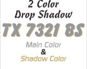"""3"""" Boat & PWC Registration Numbers Decals, 2 Colors Drop Shadow and Main color"""