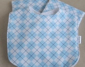 New Baby Gift Set - 2 Burp Cloths and Matching Bib in Soft Blue Argyle - PERSONALIZED