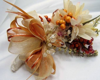 Wedding Boutonniere in Autumn Light Golden Yellow and Pale Rust with beaded accents