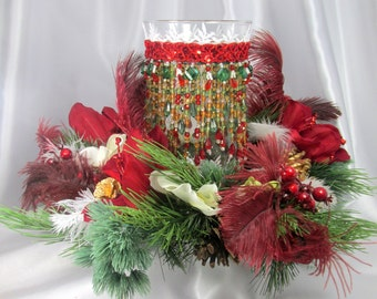 Beaded Hurricane Candle Holder and Feathers, Silk Lillies & Blue Spruce Wreath Holiday Centerpiece